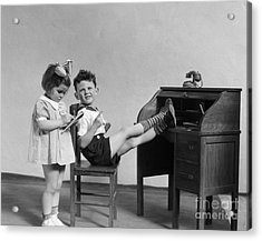 Boy And Girl Playing Office, C.1930s Acrylic Print