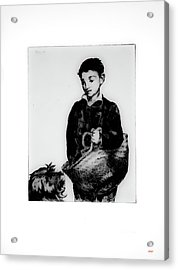 Boy And His Dog Going To Market Acrylic Print by KJ DePace