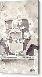 Boy And His Dog On An Old Car Acrylic Print by Ken Powers