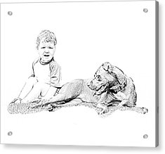 Boy And His Dog Acrylic Print by Ralph  Perdomo
