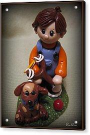 Boy And His Dog Acrylic Print by Trina Prenzi