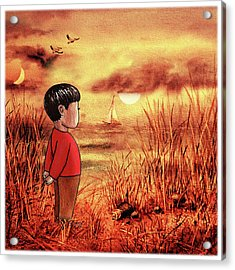 Boy And The Ocean At Sunset Acrylic Print
