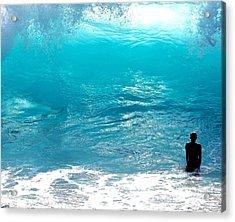 Boy And Wave Kekaha Beach Acrylic Print by Debra Banks