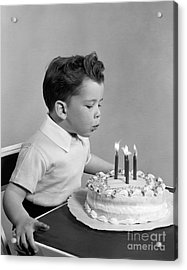 Boy Blowing Out Candles On Cake, C.1950s Acrylic Print by H. Armstrong Roberts/ClassicStock
