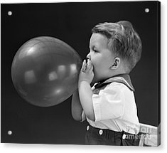 Boy Blowing Up Balloon, C.1940s Acrylic Print by H. Armstrong Roberts/ClassicStock