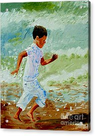 Boy By The Sea Acrylic Print by Inna Montano