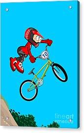 Boy Flying And Jumping On His Bmx Bike Acrylic Print