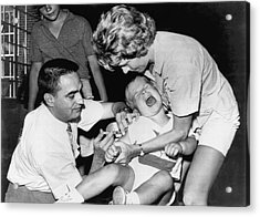Boy Gets Measles Vaccine  Shot Acrylic Print by Underwood Archives