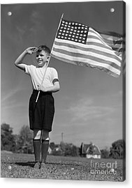 Boy Holding American Flag & Saluting Acrylic Print by H. Armstrong Roberts/ClassicStock