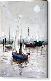 Boy In Blue Sailboat Acrylic Print by Dan Bozich