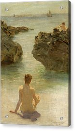 Acrylic Print featuring the painting Boy On A Beach, 1901 by Henry Scott Tuke
