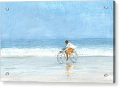 Boy On A Bike  One Acrylic Print by Lincoln Seligman