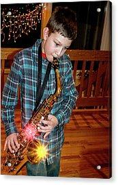 Boy Playing The Saxophone Acrylic Print