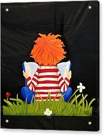 Boy Reading Book Acrylic Print