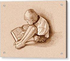 Boy Reading Book Sepia Drawing Acrylic Print