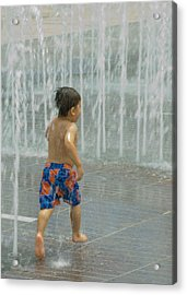 Boy Running In The Water Acrylic Print by Robert  Suggs