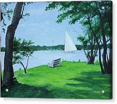 Acrylic Print featuring the painting Boy Scout Island by Robert Henne