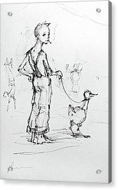Boy Walking Goose Acrylic Print by H James Hoff