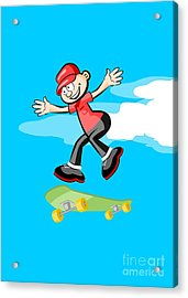 Boy With A Red Cap Sports Happily Jumping With His Green Skateboard Acrylic Print