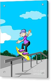 Boy With A Yellow Skateboard Makes Dangerous Pirouettes On The Railing Of The Park Ramp Acrylic Print
