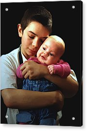 Acrylic Print featuring the photograph Boy With Bald-headed Baby by RC deWinter