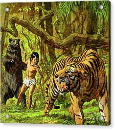 Boy With Bear And Tiger  Acrylic Print by English School