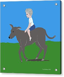 Boy With Calf Acrylic Print by Fred Jinkins