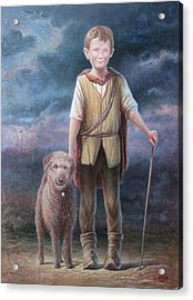 Boy With Dog Acrylic Print by Hans Droog