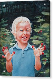 Boy With Raspberries Acrylic Print by Marilyn Jacobson