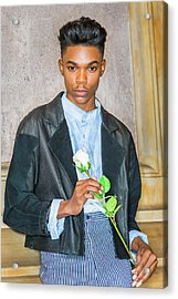 Acrylic Print featuring the photograph Boy With White Rose 15042618 by Alexander Image