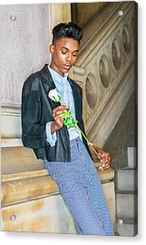 Acrylic Print featuring the photograph Boy With White Rose 15042622 by Alexander Image