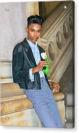 Acrylic Print featuring the photograph Boy With White Rose 15042623 by Alexander Image
