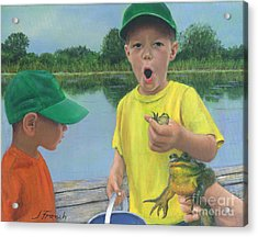 Boys And Frogs Acrylic Print