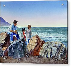 Boys And The Ocean Acrylic Print