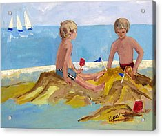 Boys At The Beach Acrylic Print by Betty Pieper