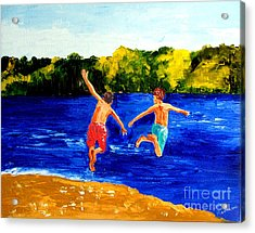 Boys By The River Acrylic Print by Inna Montano