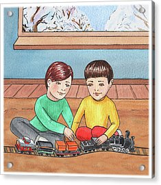 Boys Like Trains Acrylic Print by Irina Sztukowski