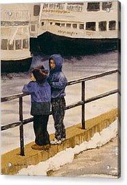 Acrylic Print featuring the painting Boys N Boats by Lynn Babineau