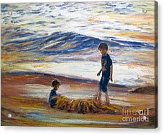 Boys Playing At The Beach Acrylic Print