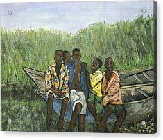 Boys Sitting On The Boat Uganda Acrylic Print by Reb Frost