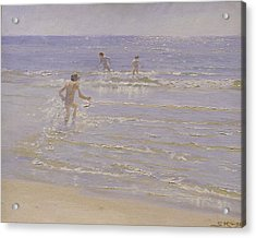 Boys Swimming Acrylic Print by Peder Severin Kroyer