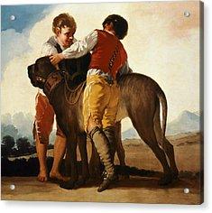 Boys With Mastiff Acrylic Print
