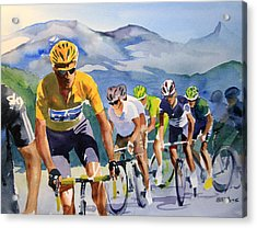 Brad Wiggins In Yellow Acrylic Print by Shirley  Peters