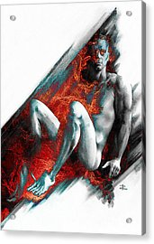 Acrylic Print featuring the drawing Bradley With Mood Texture by Paul Davenport