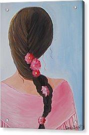 Braided Hair Acrylic Print by Glenda Barrett