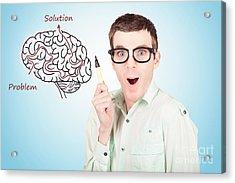 Brain Businessman With Creative Idea Illustration Acrylic Print