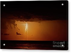 Acrylic Print featuring the photograph Branch Lightning Over Lake by Charline Xia