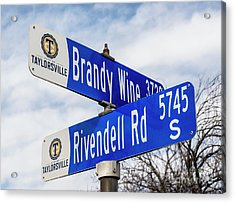 Brandywine And Rivendell Street Signs Acrylic Print by Gary Whitton