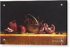 Brass Basket Acrylic Print by Larry Preston
