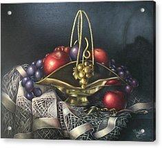 Brass Basket Acrylic Print by Michelle Kerr
